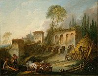 tablou francois boucher - landscape with the palatine hill, view from campo vachchyno (1734)