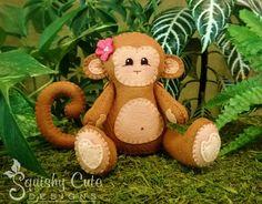 Monkey Sewing Pattern PDF - Jungle Stuffed Animal Felt Plushie - Mango the Monkey - Instant Download by SquishyCuteDesigns on Etsy https://www.etsy.com/listing/160321702/monkey-sewing-pattern-pdf-jungle-stuffed