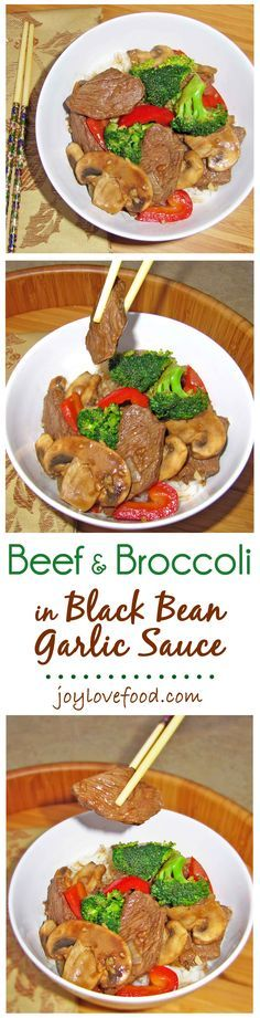 Beef & Broccoli in Black Bean Garlic Sauce - this delicious stir-fry with slices of beef and colorful veggies in a savory, slightly sweet, black bean garlic sauce, is perfect for a quick and easy weeknight dinner.