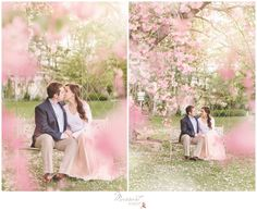 Engagement photos taken in Rhode Island by Massart Photography. Pink tulle skirt from Jenny Yoo available at Nordstrom.