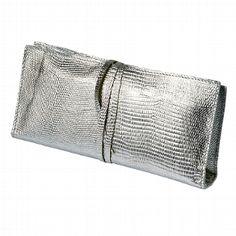 """Handtasche """"Tebe"""" aus silbrig-glänzendem Leder"""