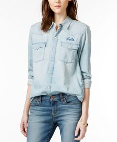 8a6a1fd1202 Lucky Brand Western Graphic-Detail Denim Shirt Women - Tops - Macy s