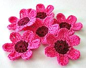 Fairytale Crochet Flowers, 6 pieces pink, wine, deep red