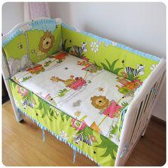 Promotion! 6PCS Forest Baby bumper set Sale Baby Bedding Set bed linen 100% Cotton,(bumper+sheet+pillow cover)