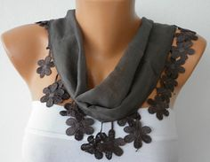 -Gray Cotton Scarf Headband Necklace Cowl with by fatwoman, $15.00