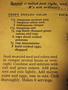 Grandma's Vintage Recipes: Peppy Potato Salad