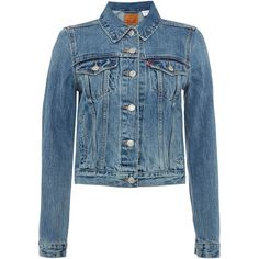 Levi's Authentic trucker denim jacket in traveling road ($120) ❤ liked on Polyvore featuring outerwear, jackets, denim mid wash, women, long sleeve jacket, blue jackets, long sleeve jean jacket, travel jacket and denim jacket
