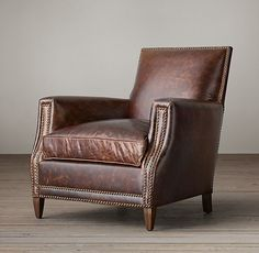 Marcel Leather Club Chair in Italiam brompton bone