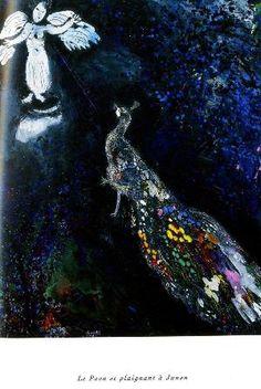 Marc Chagall, illustrations des fables de La Fontaine, Le paon se plaignant à Junon