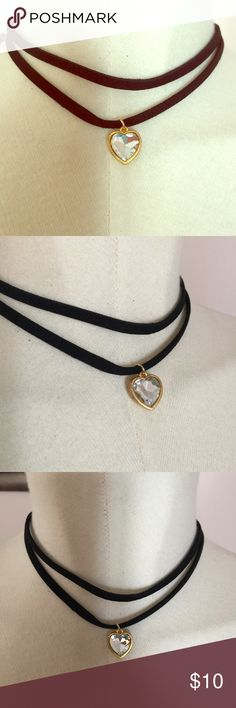 Hollywood Double Strap Suede Crystal Heart Choker New with tags, black suede Choker in double strap design with Crystal heart at the center on gold setting. Never worn, just taken out of package for photo. Nasty Gal Jewelry Necklaces