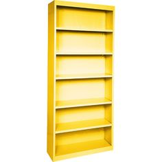 """Display treasured trinkets or organize your book collection on this welded steel bookcase, featuring 5 shelves and a bold yellow finish, $317.95, 84"""" H x 36"""" W x 18"""" D"""