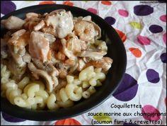 Coquillettes aux crevettes, saumon fumé & champignons - Mes Envies et Délices