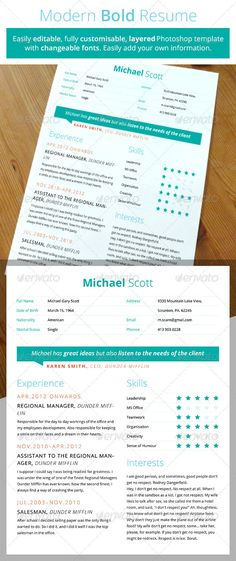 Modern Bold #Resume - Resumes Stationery Download here: https://graphicriver.net/item/modern-bold-resume/3202758?ref=alena994