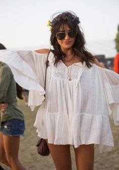 Dress: coachella tunic blouse boho festival white hippie 2013 sunglasses