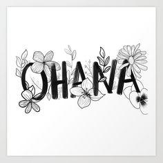 Ohana means family Art Print by Flowery Florals - X-Small Lilo And Stitch Tattoo, Ohana Tattoo, Ohana Means Family, Wrist Tattoos For Women, Disney Tattoos, Cute Cartoon Wallpapers, Chalk Art, Future Tattoos, Diy Painting