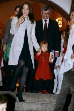Denmark's Crown Princess Mary (L) and Princess Josephine attending a Christmas concert in the Esayas church, 15.12.13.