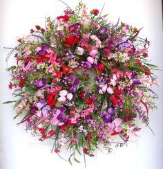 Spring Wreath-Butterfly Wildflower by SeasonalWreaths on Etsy