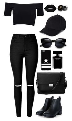 """""""black, black, black."""" by guadalupebellorin ❤ liked on Polyvore featuring American Apparel, Aspinal of London, Givenchy, Lime Crime, Narciso Rodriguez, Gucci and black"""