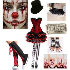 """Halloween costume idea (Creepy Circus Girl)"" by shadow-cheshire ❤ liked on. Clown Costume Women, Halloween Costumes Women Scary, Ringmaster Costume, Clown Halloween Costumes, Halloween Circus, Creepy Costumes, Circus Costume, Halloween Cosplay, Halloween Outfits"