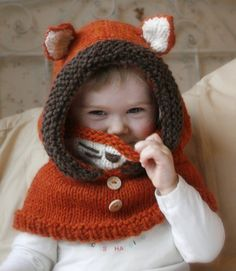 Fox Hood Cowl Knitting Pattern
