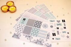 Gorgeous Pause & Reflect kit for your vertical Erin Condren planner. Every items hand drawn and designed by us, Vic and Lou, so these images are exclusive to us. Kit includes 6 sticker sheets with over 200 stickers  Stickers are printed on a beautiful vinyl matte adhesive paper. Item Details - Sheet 1 - x8 Themed full boxes and large themed washi strips  Sheet 2 - x8 ombre check boxes, x7 themed half boxes  Sheet 3 - x10 themed half boxes, 42 bits and bobs (also known as littles), x2 colo...