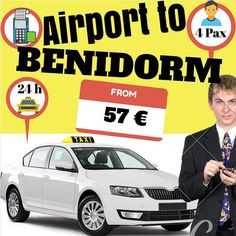 Alicante airport to Benidorm from 57€. www.alicante-airporttransfers.com/en/