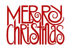 Simple, graphic text design wishing your family and friends a Merry Christmas in red, perfect for the festive season