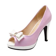 YE Damen Peep Toe Pumps Stiletto High Heels Plateau mit Schleife und 10cm Absatz Elegant Party Schuhe