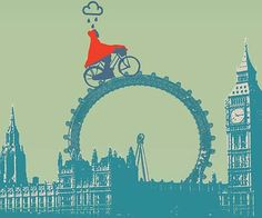 Illustration showing a person wearing a red raincoat and cycling over the London Eye with Big Ben and the Houses of Parliament in the background