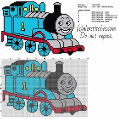Thomas The Tank Engine And Friends Free Cross Stitch Pattern Full Figure - Free Cross Stitch Patterns By Alex - Diy Crafts Counted Cross Stitch Patterns, Cross Stitch Charts, Cross Stitch Designs, Cross Stitch Embroidery, Embroidery Patterns, Baby Sweater Knitting Pattern, Stitch Cartoon, Cross Stitch For Kids, Crochet Cross