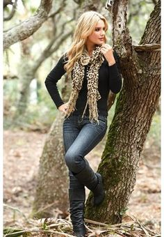 Leopard print knit scarf.black sweater and boots - I LOVE this entire outfit! :)