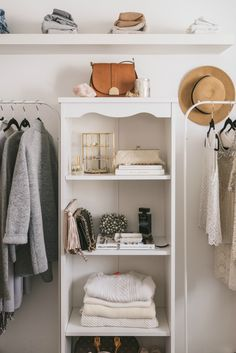 Create an exterior closet with stand alone racks and shelving: http://www.stylemepretty.com/living/2016/07/05/7-genius-storage-solutions-when-youre-low-on-closet-space/
