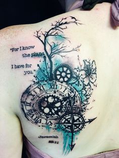 Compass, clock, cherry blossom and tree trash polka back tattoo