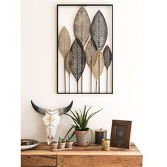 Black and Gold Metal Feather Wall Art 53x84 | Maisons du Monde