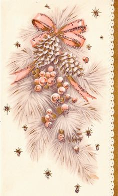 #retrochristmas Vintage Christmas. Pink Christmas. Retro Christmas Card.