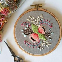 Modern embroidery hoop art by RedWorkStitches on Etsy