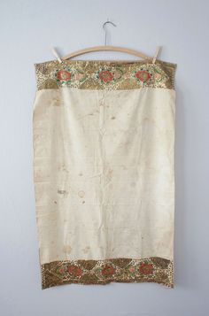 Antique Ottoman Gold Metal Thread Floral Embroidered Towel - Turkish Textile
