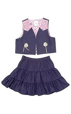 Kiddie Korral® Girls Denim Pink Prairie Skirt Set | Cavender's