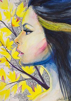 "Yellow girl  watercolor  painting print 8"" x 12"" Woman, Aureolin, Daffodil, Electric yellow, Lemon yellow. $25.00, via Etsy."