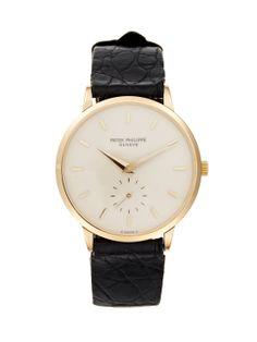 Patek Philippe Calatrava  Gold & Black Leather Watch, 33mm by Patek Philippe at Gilt