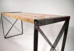 Reclaimed wood modern / industrial desk by RockyMountainTableCo