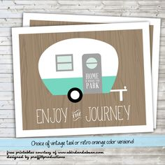 \'Enjoy the Journey\' Retro Camper :: Free Printable - A Bird and a Bean