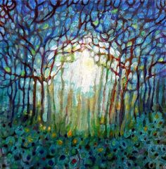 ARTFINDER: Tangled Wood by Imogen Skelley - A really magical feeling is contained in this painting. The light shines through the trees and the branches all intertwine to create a pattern which works we...