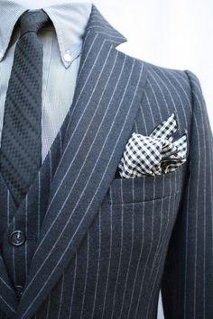 Mens Vintage 3 Piece Black Pinstriped Suit Jacket by ViVifyVintage Dapper Gentleman, Dapper Men, Gentleman Style, Suits For Women, Mens Suits, Black Pinstripe Suit, Heart Flutter, Elegant Man, Men Formal