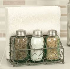CHICKEN wire Salt and Pepper Caddy Napkin Holder.  Check out this item in my Etsy shop https://www.etsy.com/listing/272615036/chicken-wire-mason-jar-salt-and-pepper