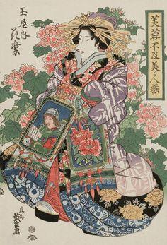 Hanamurasaki of the Tamaya. Ukiyo-e woodblock print, about 1830's, Japan, by artist Keisai Eisen.