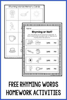 """Download this free rhyming words memory game and """"Rhyming or Not"""" worksheet - perfect for a Kindergarten homework assignment!  The game comes with parent directions in English and Spanish."""