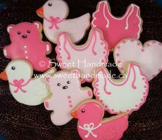 Sweet Handmade Cookies - pink baby shower cookies, bib cookies, duck cookies, bear cookies