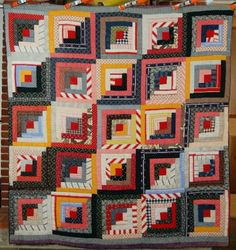 1890's Straight Furrows Hand Stitched LOG CABIN Quilt!  the red and white stripes make it