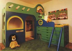 "This amazing little playhouse with built in storage is also a bunk bed! This image taken from a vintage book called ""Room to Grow: Making Your Child's Bedroom and Exciting World""."